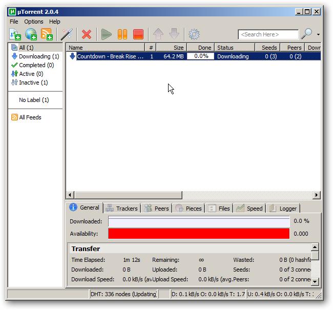 A torrent being downloaded in uTorrent