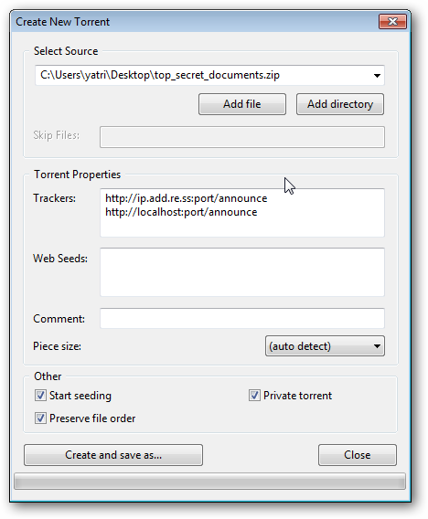 New Torrent settings