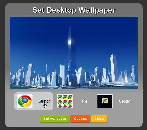 From this screen you can choose whether to stretch, tile, or center the image, and then click the Set wallpaper button. And just like that, you've got the ...