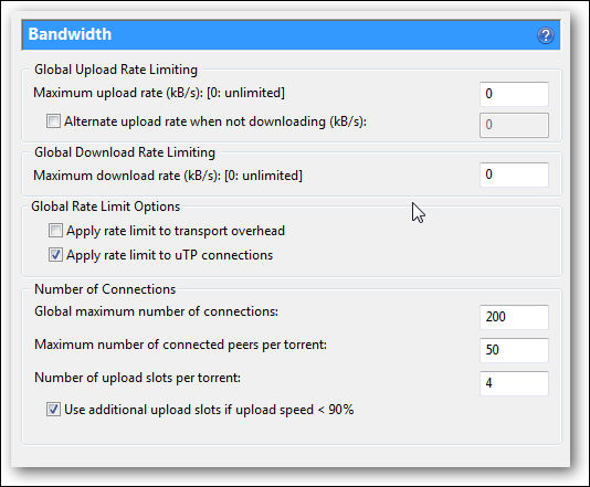 Bandwidth tab