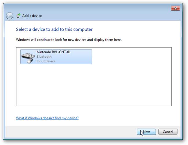 "add input device ""RVL-CNT-01"""