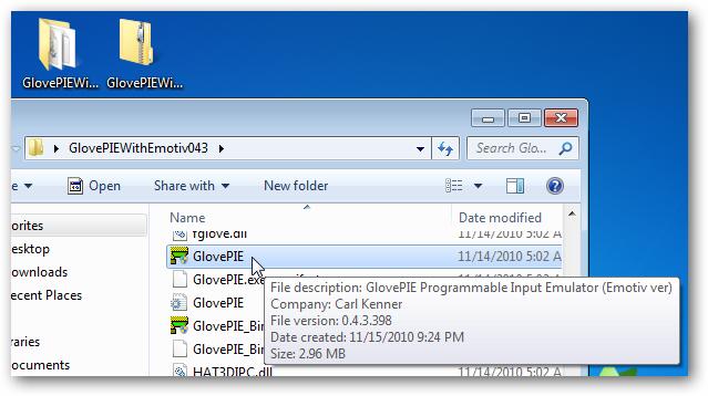 GlovePIE 0.43 with Emotiv, unzipped