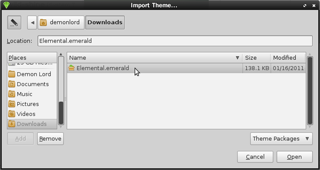 Browsing to import theme