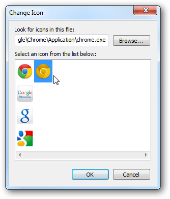 google chrome icon file. Inside the Change Icon dialog