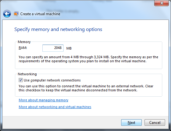 Beginner how to create a virtual machine in windows 7 for Window location assign