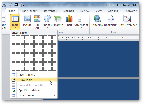 how to create tables on word with different lines