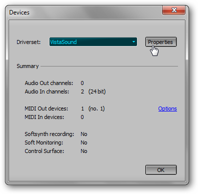 mts devices dialog