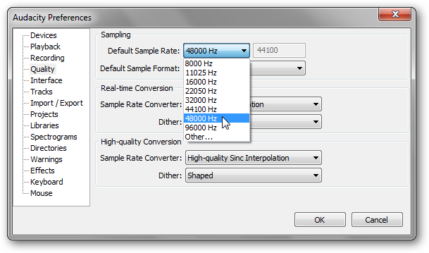 default sample rate audacity
