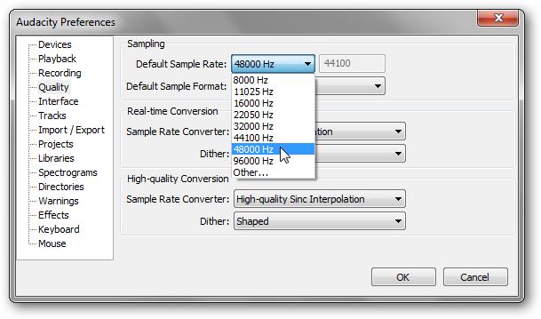 default sample rate audacity