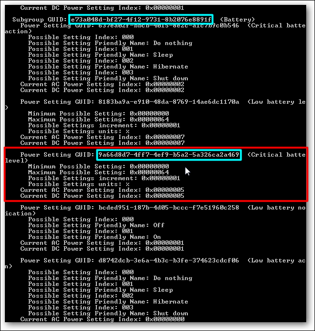powercfg query