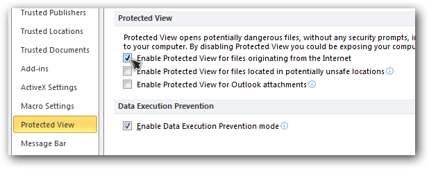 excel remove protection view