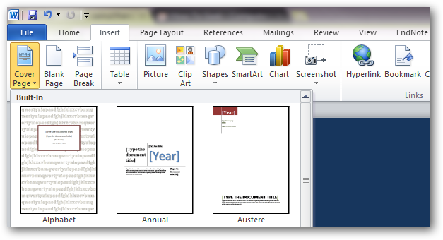 How to create custom cover pages in microsoft word 2010 image spiritdancerdesigns Images