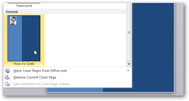 how to create custom cover pages in microsoft word 2010