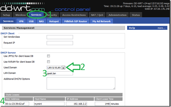 how to make router to ping server on dhcp
