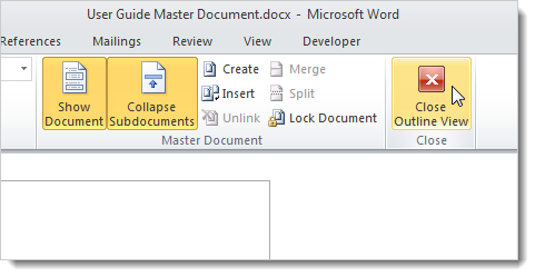 how to create black page in master document word
