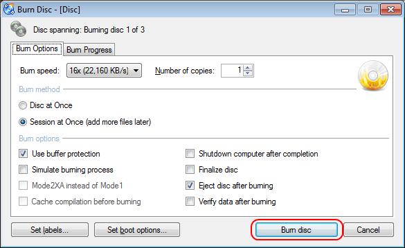 Burn disc button