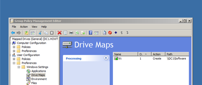 windows 10 local group policy map network drive
