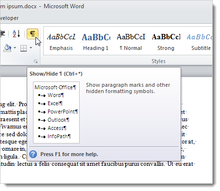 How To Use The Reveal Formatting Feature In Word 2010