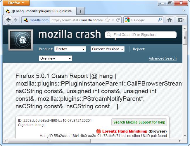 mozilla crash report