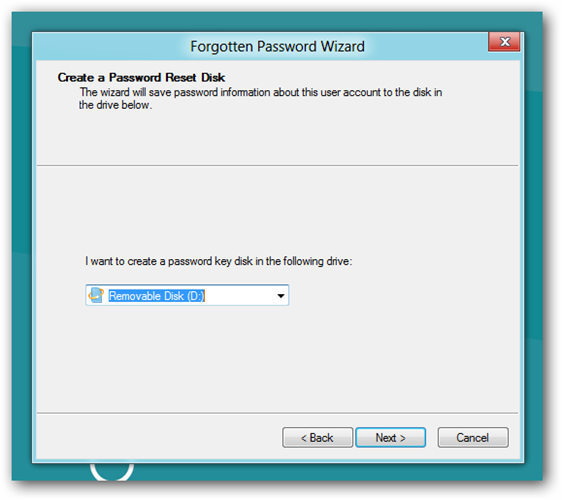 how to create a password reset disk windows 8