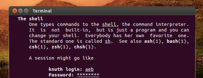 linux terminal help header