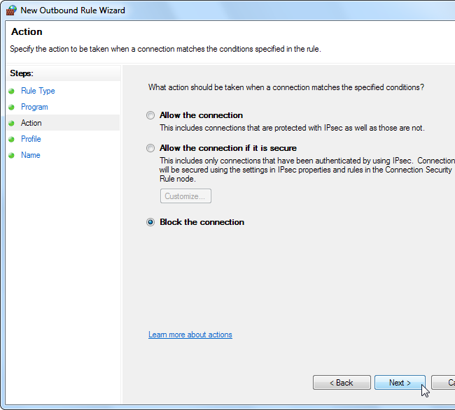 how to block a website in firewall windows 8