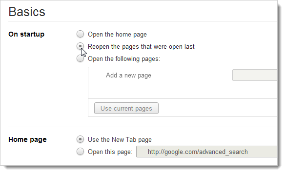 how to close chrome and reopen all tabs
