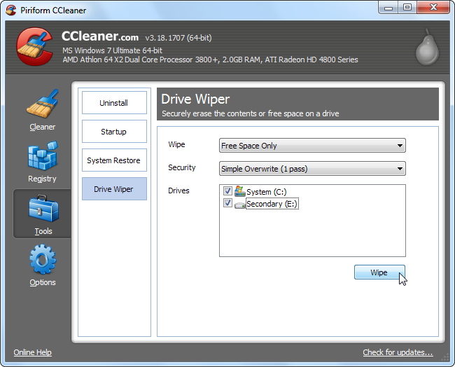 Ccleaner wipe free space solid state