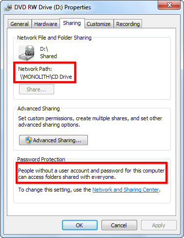 an icon over the drive indicates that its shared to stop sharing the drive later go back into its advanced sharing window and uncheck the share this