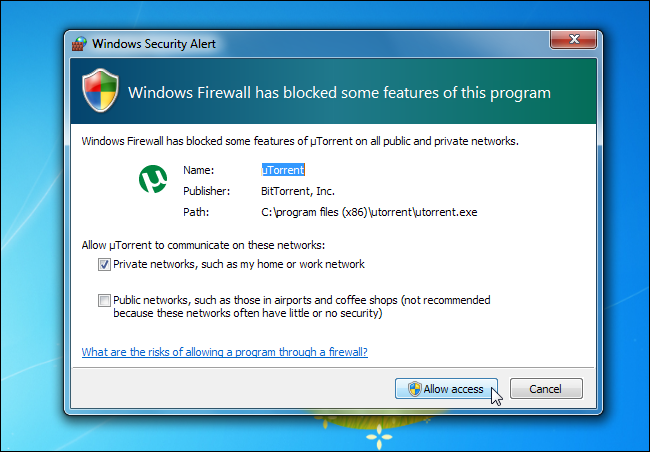 blocked programs windows 7