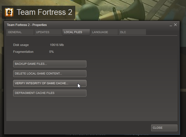 Validating steam cache files 0