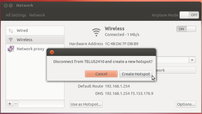 how to make my laptop wireless hotspot