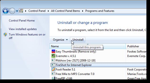 06_uninstall_fireshot_in_control_panel