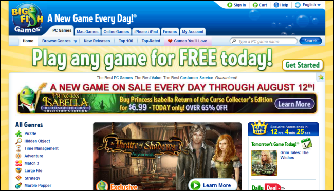 The best websites for downloading games and playing games for Big fish online free