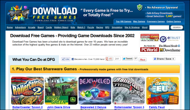 The best websites for downloading games and playing games online.