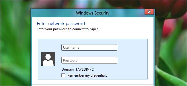 disable windows security enter network password windows 10