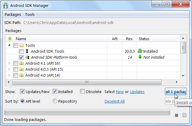 android sdk tools installer download