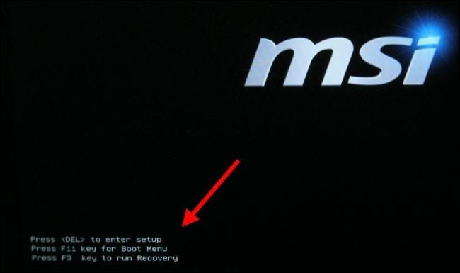 Boot Menu key displayed at PC startup