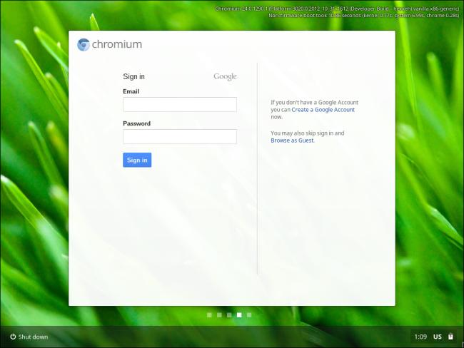 Chrome OS packaged for virtual run-throughs