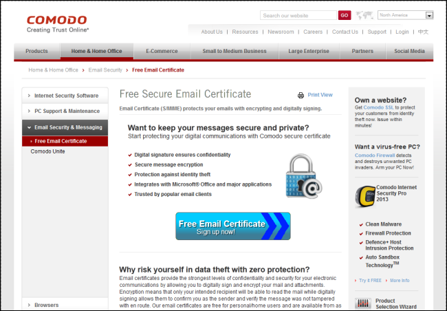 comodo_free_secure_email_certificate