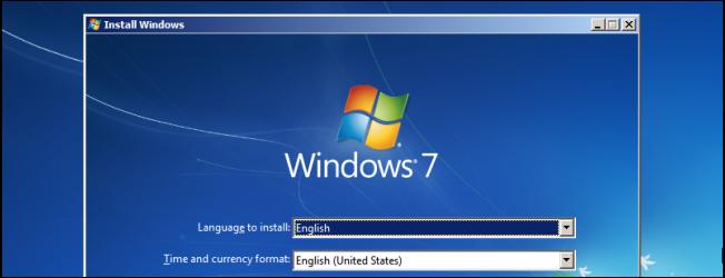 The Windows 7 installer screen.