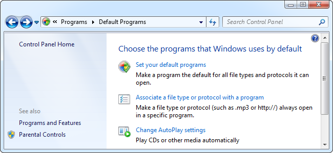 How to edit or change file type or extension associations (default programs in windows 7
