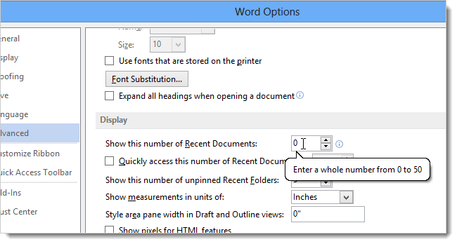 How to clear the recent documents list in word 2013 04changingrecentdocumentsnumber ccuart Choice Image