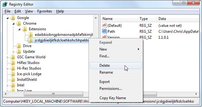 delete-sweetim-in-registry