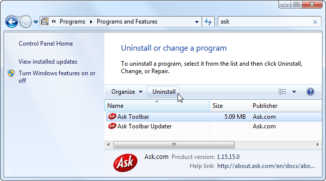 uninstall-ask-toolbar-from-control-panel