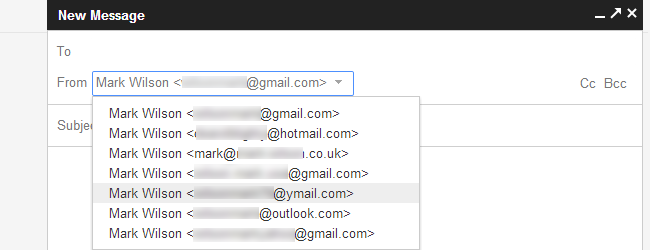 differnt emails