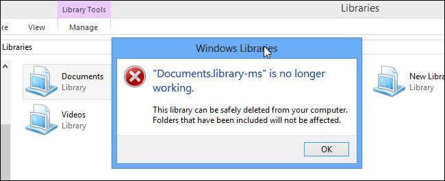 how to fix when a built in windows library isnt working With documents library ms is no longer working error