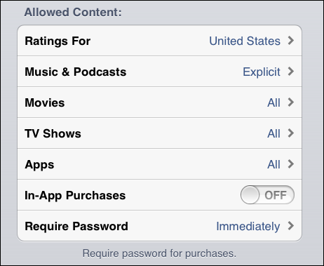 ios restrict in app purchases