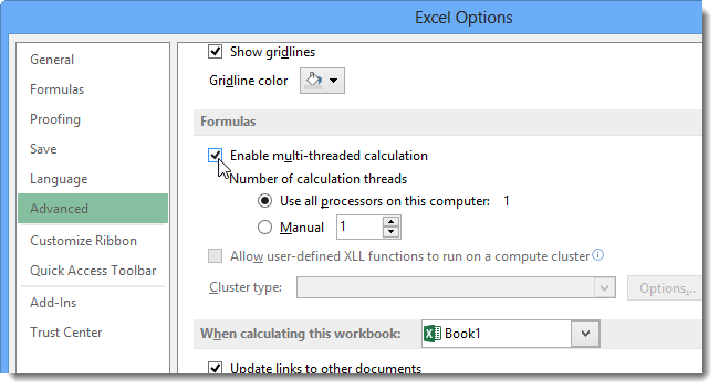 Enable automatic calculation excel 2013