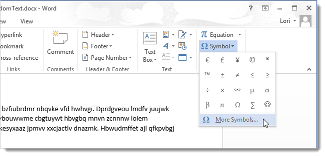 How to use symbols in word 2013 02clickingmoresymbols ccuart